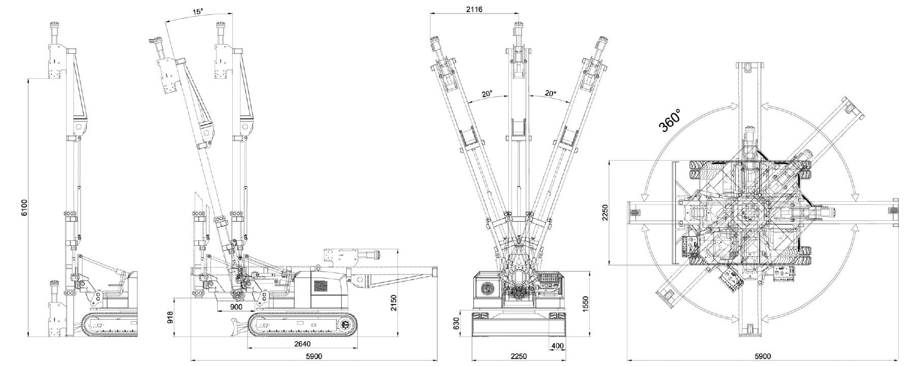 Misure e disegno tecnico battipalo modello 1200
