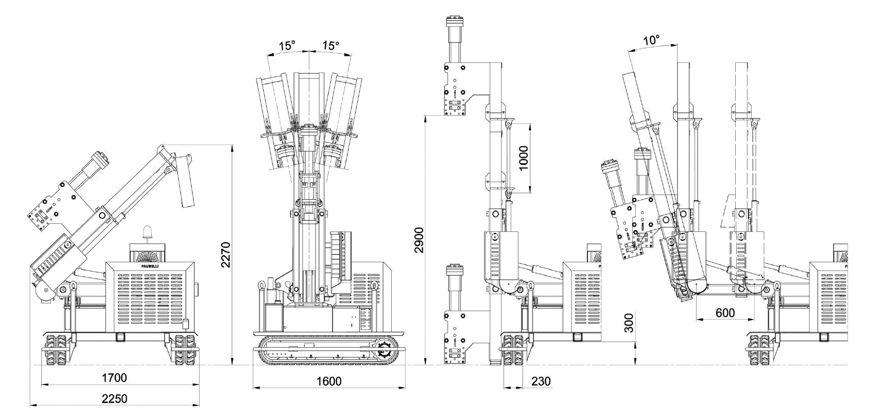 Misure e disegno tecnico battipalo modello 400