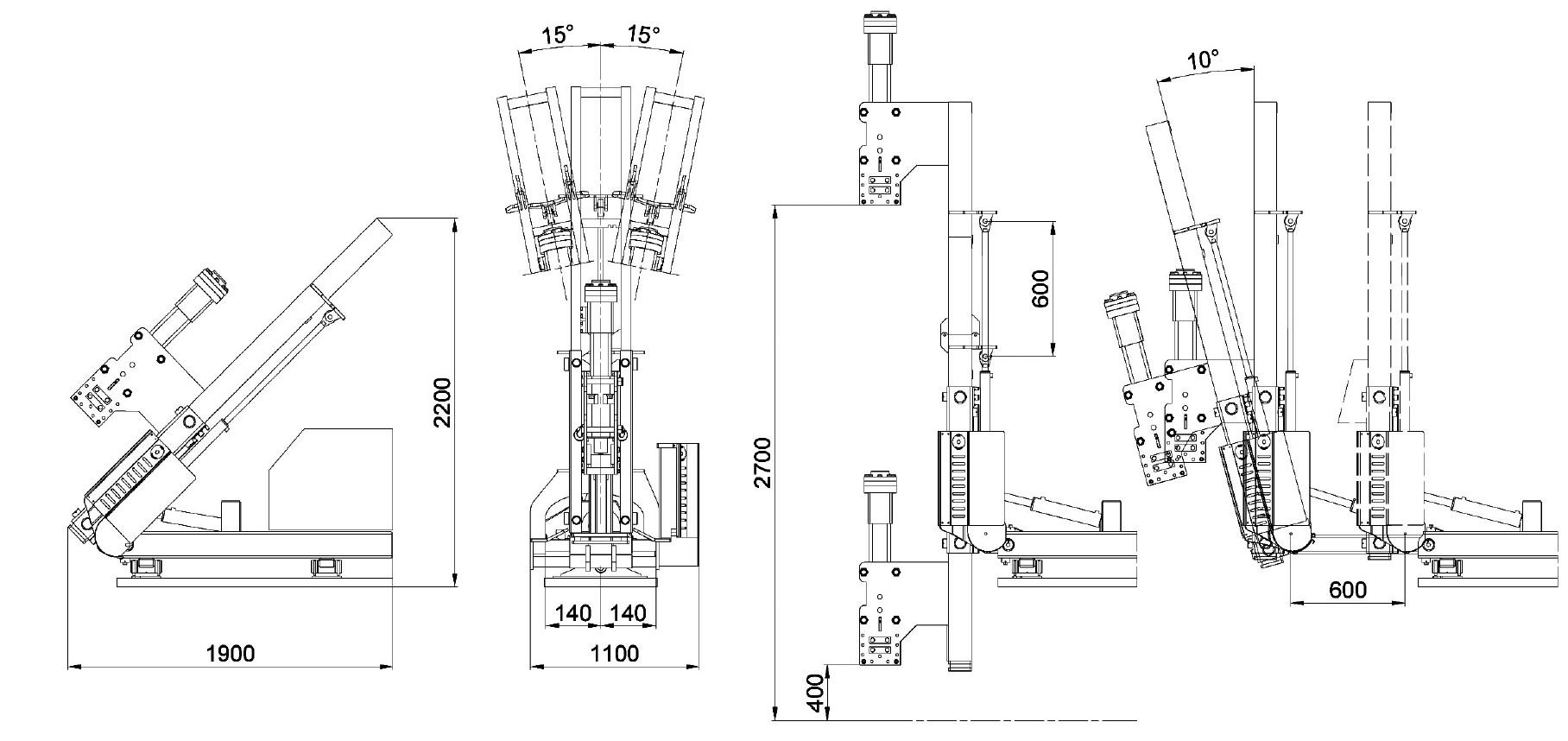 Misure e disegno tecnico attrezzatura battipalo modello 500SX